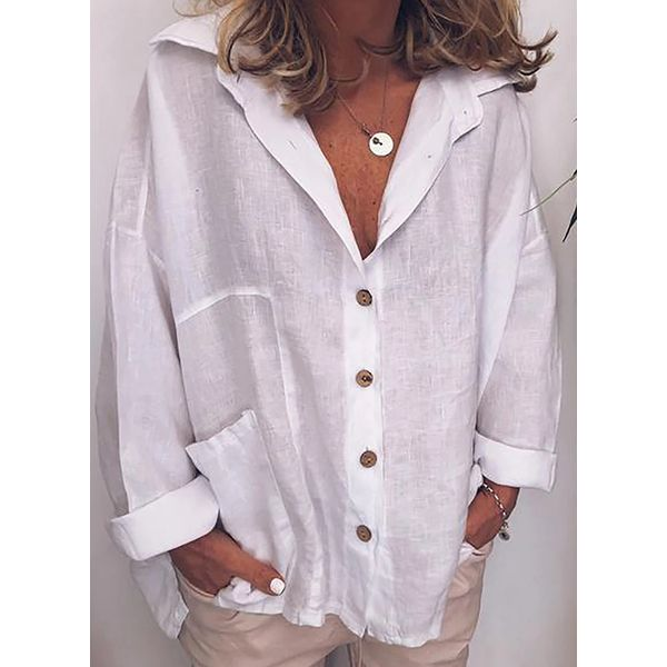 Solid Casual Collar Long Sleeve Blouses (1645586923)