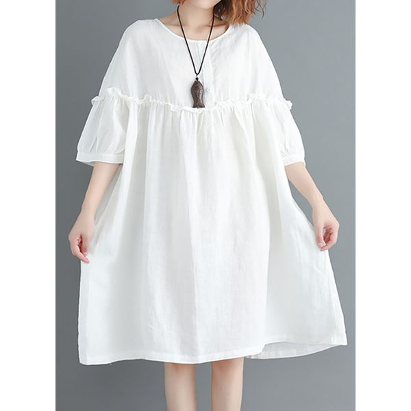 Solid 3/4 Sleeves Knee-Length Shift Dress (1955382045) 2