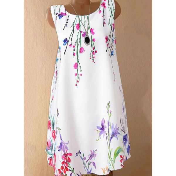 Casual Floral Tunic Round Neckline Shift Dress (1955587282)