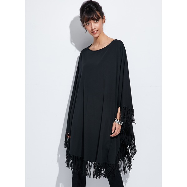 Solid Tassel Long Sleeve High Low A-line Dress (1955120068) 4