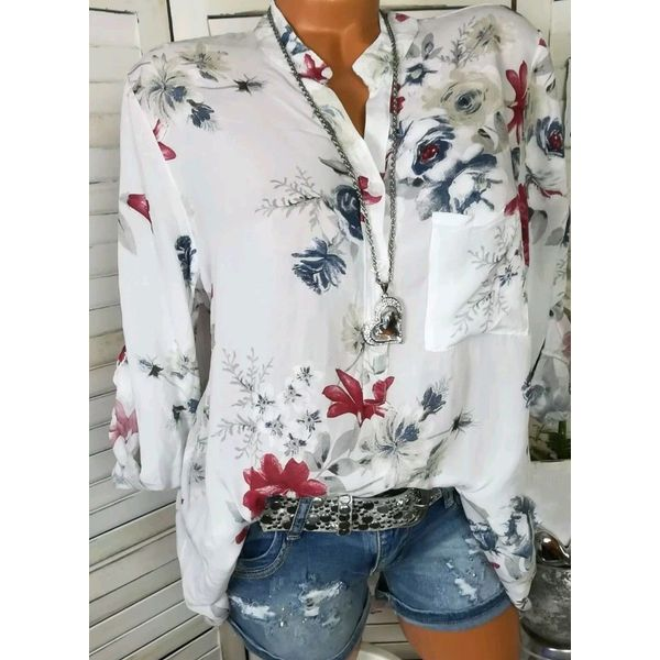 Floral Casual Stand Collar Long Sleeve Blouses (1645279327, Blue;green;pink;red;white