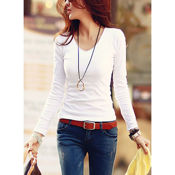 Solid V-Neckline Long Sleeve Casual T-shirts (1685382879) 11