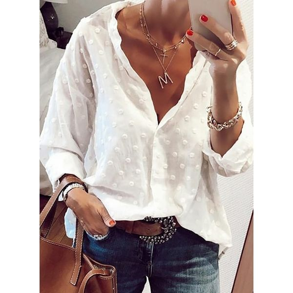 Solid Casual V-Neckline Long Sleeve Blouses (1645535872)