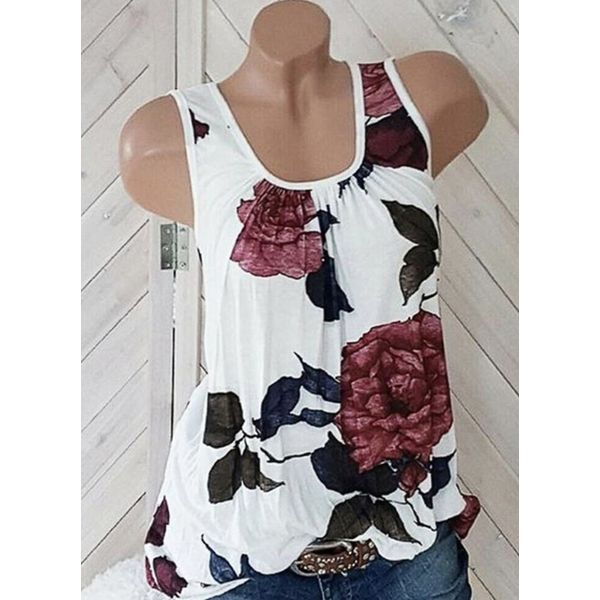 Floral Square Neckline Sleeveless Casual T-shirts (1685593684)