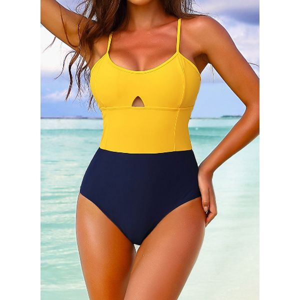 Polyester Color Block One-piece Swimwear (30015593150)
