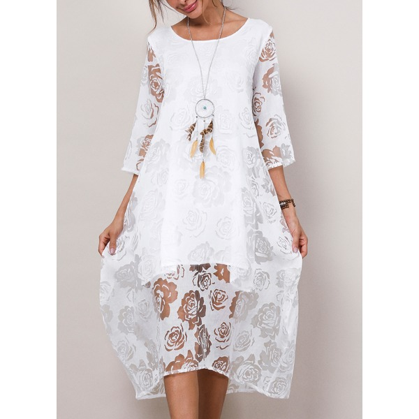 Solid Lace 3/4 Sleeves Midi Dress (1955189441) 4