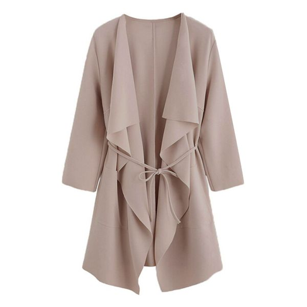 3/4 Sleeves Lapel Sashes Trench Coats (1715380603) 11