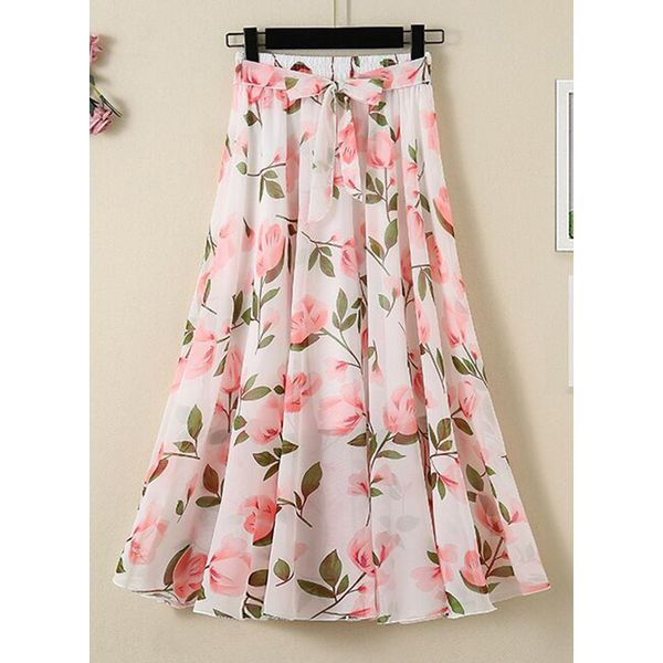 Floral Mid-Calf Casual Skirts (1725585605)