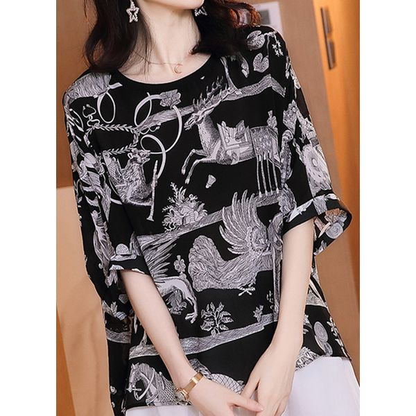 Plus Size Animal Round Neckline Casual Shift Blouses 3/4 Sleeves Plus Blouses (30355565704)