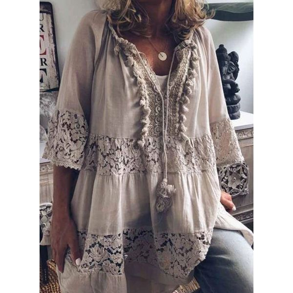 Plus Size Solid V-Neckline Casual Shift Blouses 3/4 Sleeves Plus Blouses (30355548212)