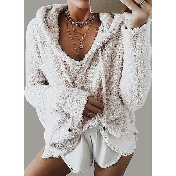 V-Neckline Solid Casual Loose None Sweaters (1675231157)