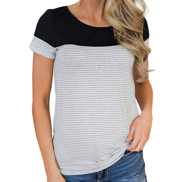 Stripe Round Neck Short Sleeve Casual T-shirts (1685381658) 10