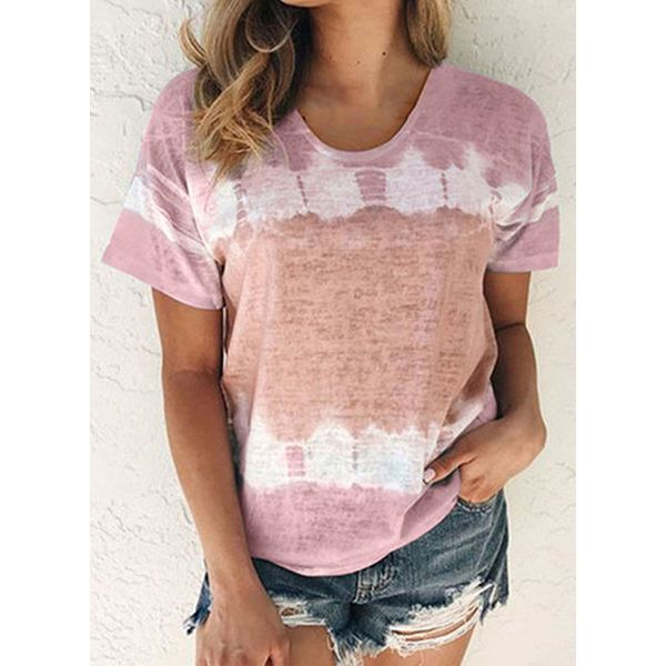 Color Block Round Neck Short Sleeve Casual T-shirts (1685572821)
