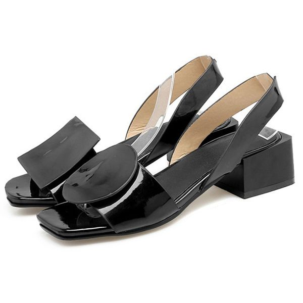 Women's Others Square Toe Patent Leather Low Heel Sandals (1625404527)