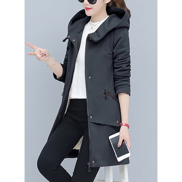 3/4 Sleeves Hooded Zipper Coats (1715380618) 12