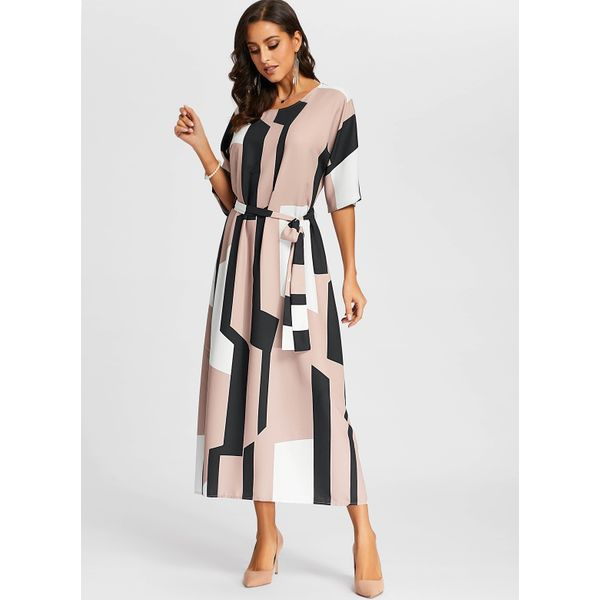 Color Block Wrap Half Sleeve Maxi X-line Dress (01955382310) 4