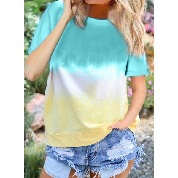 Color Block Round Neck Short Sleeve Casual T-shirts (1685592499)