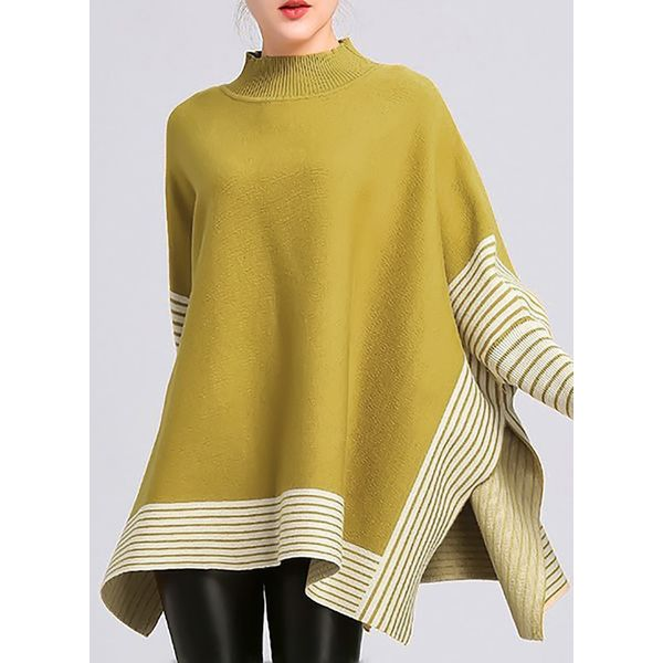 Round Neckline Stripe Oversized Loose Long Sweaters (1675361130) 10
