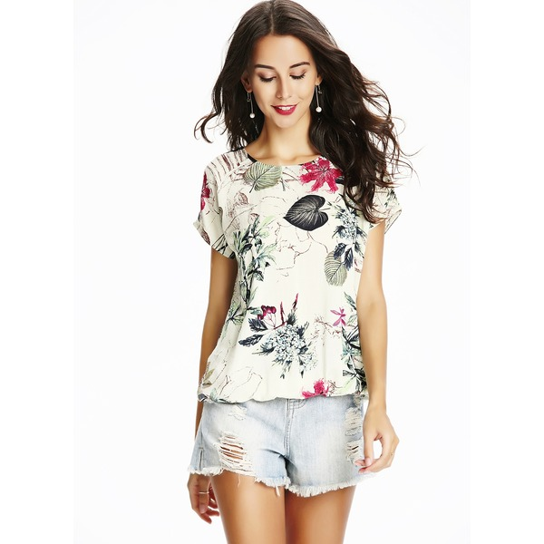 Floral Round Neck Short Sleeve Casual T-shirts (1685194736) 4