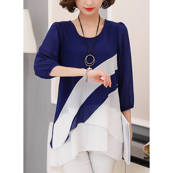 Color Block Casual Round Neckline 3/4 Sleeves Blouses (1645381436) 3
