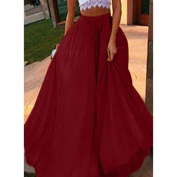 Solid Maxi Casual Skirts (1725566925)