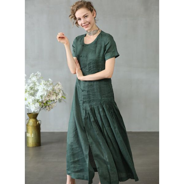 Solid Short Sleeve Maxi A-line Dress (1955379254, Green