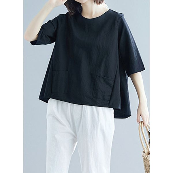 Solid Casual Round Neckline Half Sleeve Blouses (1645395255, Black;red;white