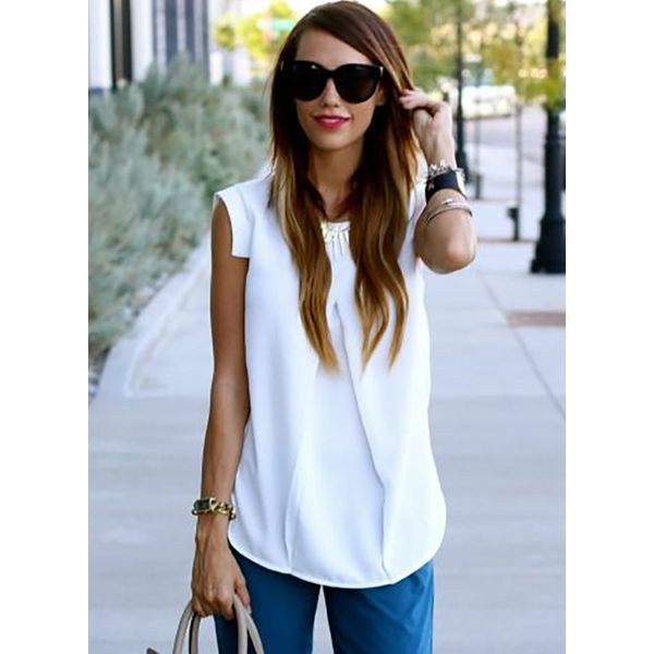Solid Casual Round Neckline Short Sleeve Blouses (1645378977)