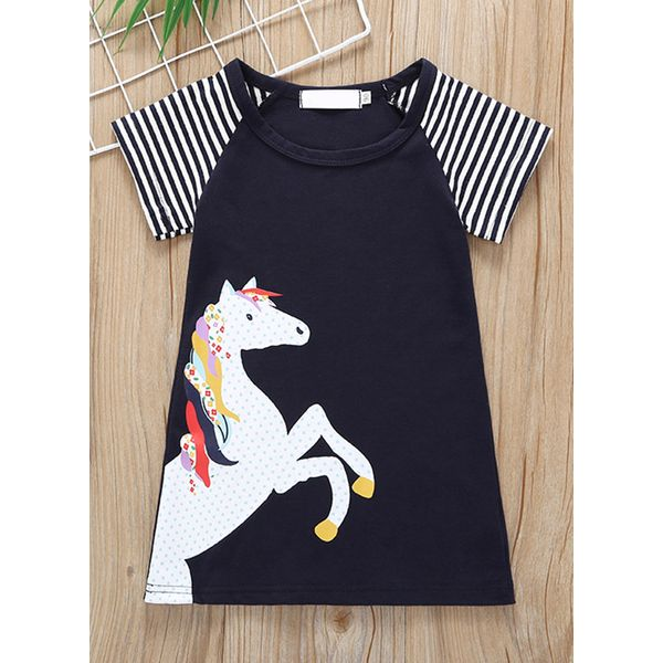 Girls' Casual Animal Daily Short Sleeve Dresses (30135380853) 11