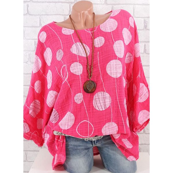 Color Block Casual Round Neckline Long Sleeve Blouses (1645420310, Blue;gray;green;pink;red;white