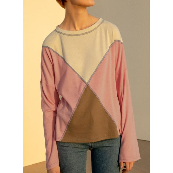 Color Block Casual Round Neckline Long Sleeve Blouses (1645536732)