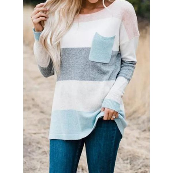 Round Neckline Color Block Loose Regular Shift Sweaters (1675380827) 9