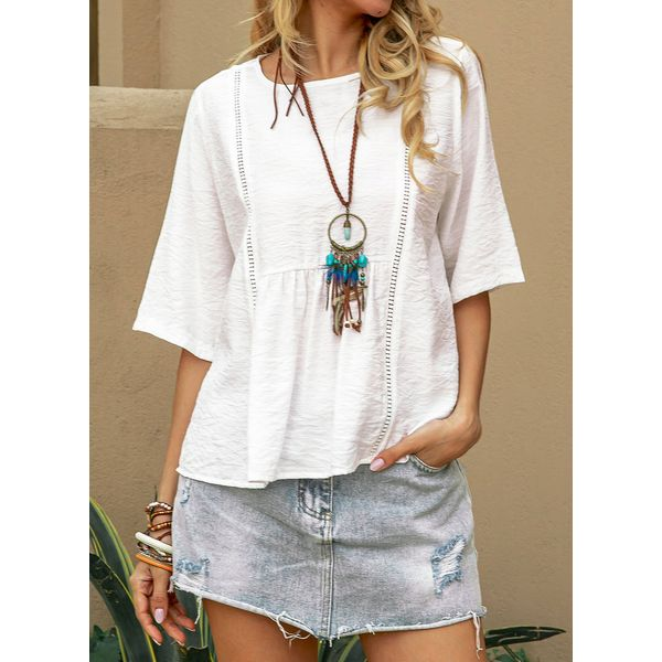 Solid Casual Round Neckline Half Sleeve Blouses (1645597882)