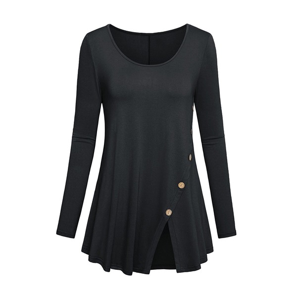 Solid Casual Round Neckline Long Sleeve Blouses (1645334917) 9