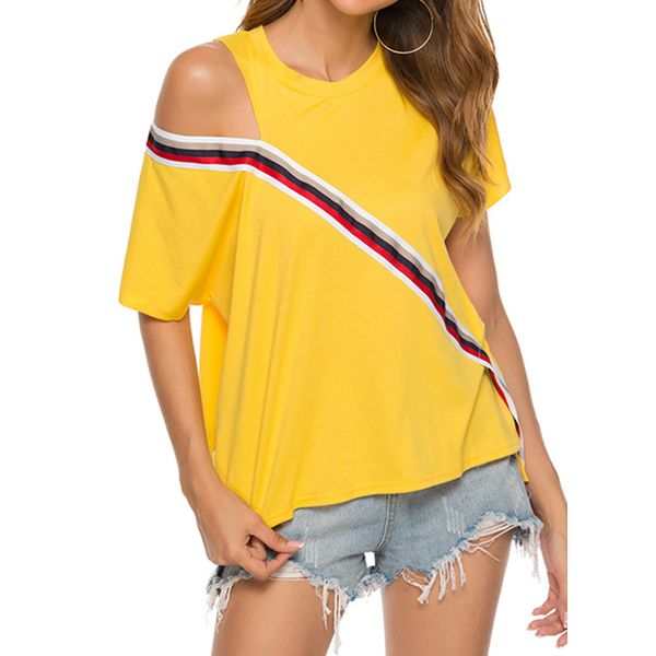 Color Block Round Neck Short Sleeve Casual T-shirts (1685423109, Yellow