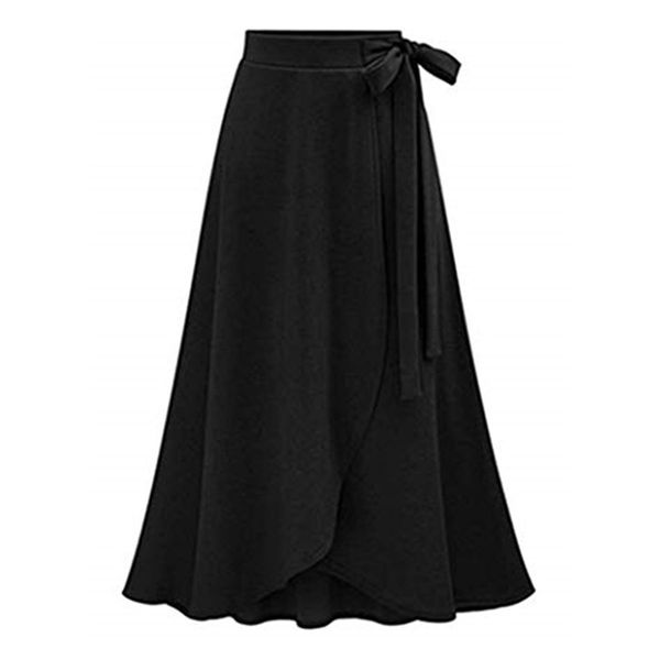 Solid Mid-Calf Casual Skirts (1725480059)