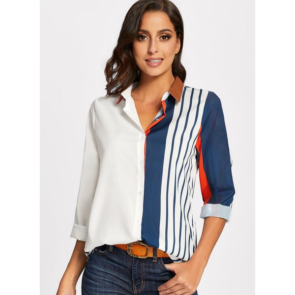 Color Block Casual Collar Long Sleeve Blouses (01645376072) 2
