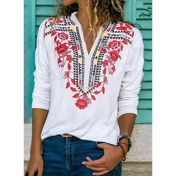 Floral V-Neckline Long Sleeve Casual T-shirts (1685558137)