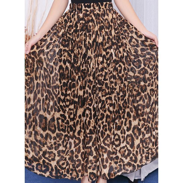 Leopard Maxi Casual Skirts (1725596236)