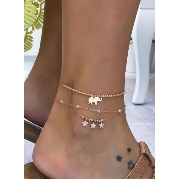Casual Crystal Ball Star Animal Anklet (1905597178)