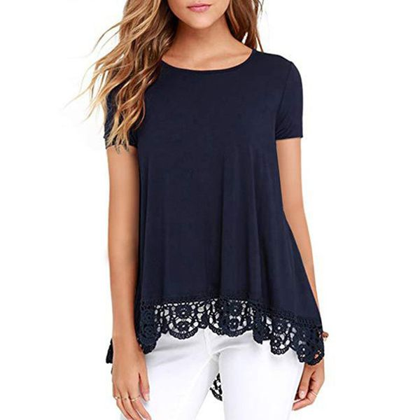 Solid Round Neck Short Sleeve Casual T-shirts (1685398259)