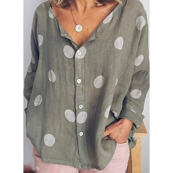 Color Block Casual V-Neckline Long Sleeve Blouses (1645420370, Blue;gray;green;pink;white