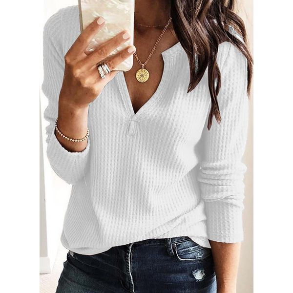 Solid Casual V-Neckline Long Sleeve Blouses (1645419247)