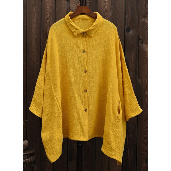 Plus Size Solid Casual Collar 3/4 Sleeves Blouses (1645379962)