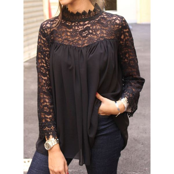 Solid Casual High Neckline 3/4 Sleeves Blouses (1645401809, Black
