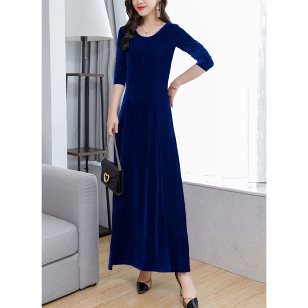 Solid Long Sleeve Maxi A-line Dress (1955362002) 2