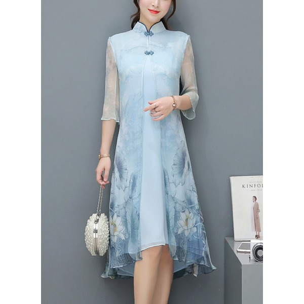 Floral 3/4 Sleeves Knee-Length A-line Dress (1955251912) 3