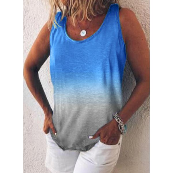 Color Block Round Neck Sleeveless Casual T-shirts (1685564588)