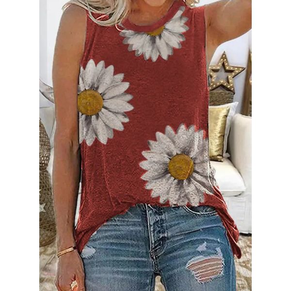 Floral Round Neck Sleeveless Casual T-shirts (1685600077)