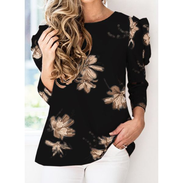 Floral Casual Round Neckline 3/4 Sleeves Blouses (1645557178)